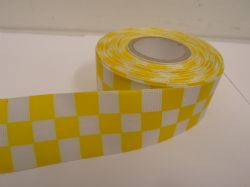 Canary bright Yellow 2 metres or 20 metre roll x 38mm Grosgrain ribbon square chequered block race track finish line